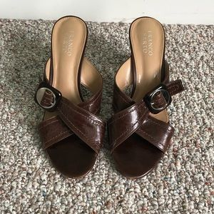 Brown slip on heels